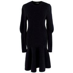 Alexander McQueen Chunky-knit Peplum Dress - Size L