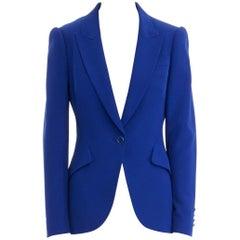 ALEXANDER MCQUEEN cobalt blue crepe peak lapel strong shoulder jacket IT40 S
