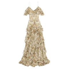 Alexander McQueen Cold Shoulder Ruffled Floral Print Silk Gown