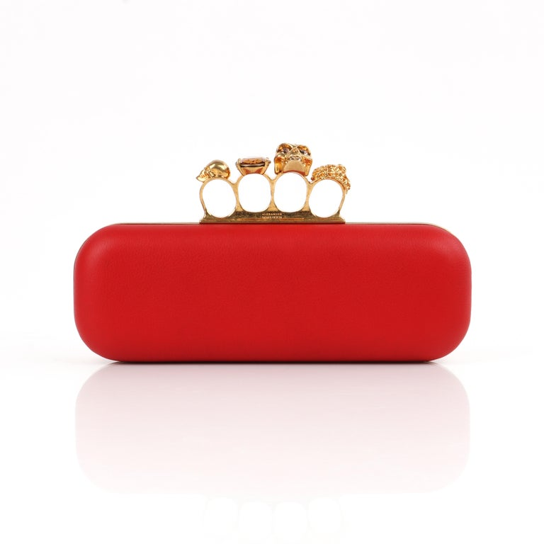 ALEXANDER McQUEEN Color-Block Knuckle Duster Box Clutch + Usher Signed Letter In Good Condition For Sale In Thiensville, WI