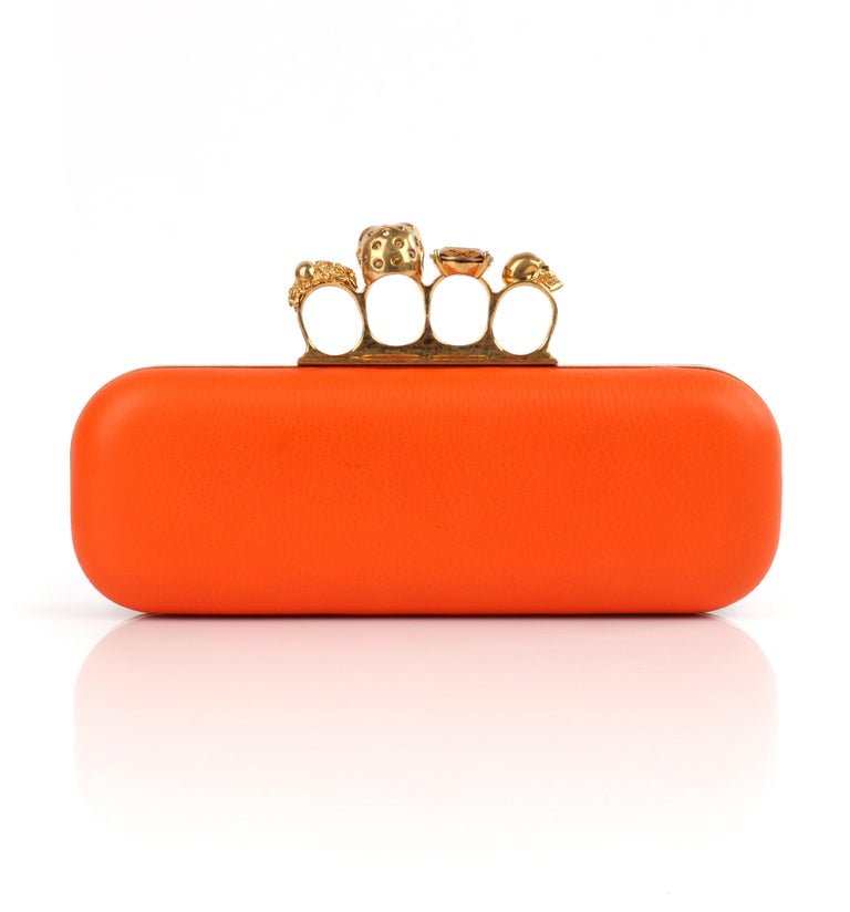 Women's ALEXANDER McQUEEN Color-Block Knuckle Duster Box Clutch + Usher Signed Letter For Sale