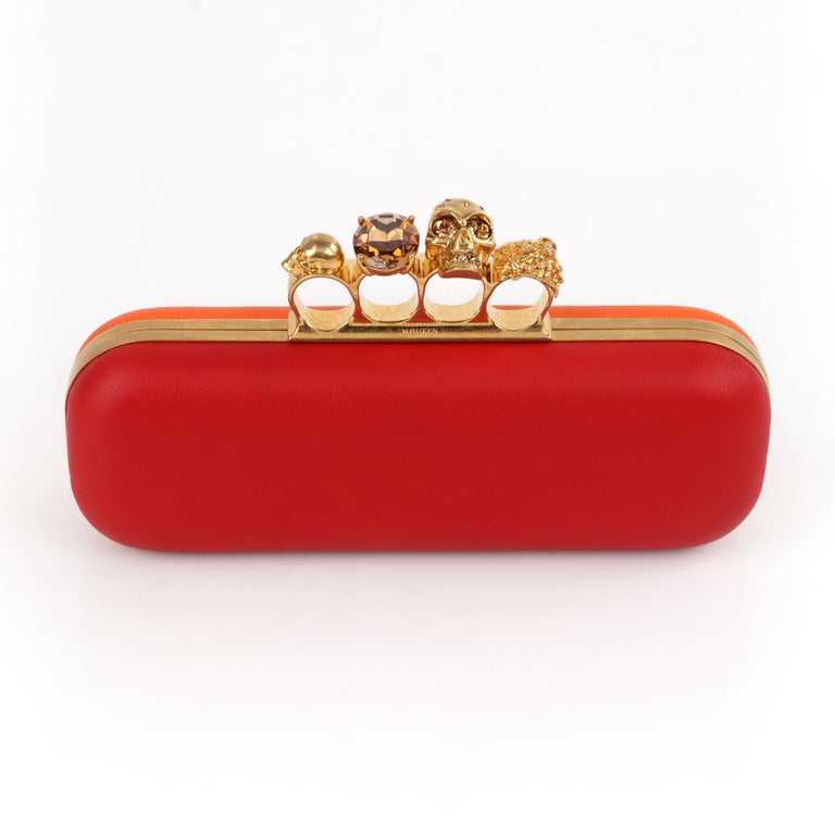 ALEXANDER McQUEEN Color-Block Knuckle Duster Box Clutch + Usher Signed Letter For Sale 1