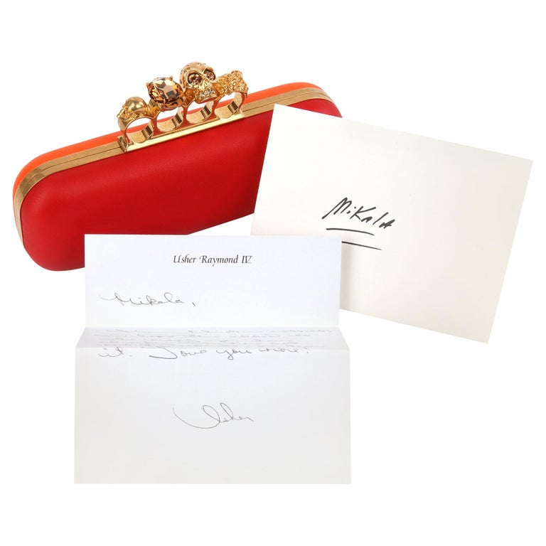 ALEXANDER McQUEEN Color-Block Knuckle Duster Box Clutch + Usher Signed Letter For Sale