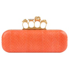 ALEXANDER McQUEEN Coral Python Skull Crystal Knuckle Duster Box Clutch