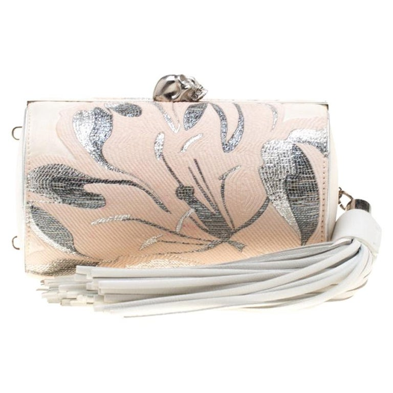 Alexander McQueen Cream Floral Satin North South Chain Clutch For Sale