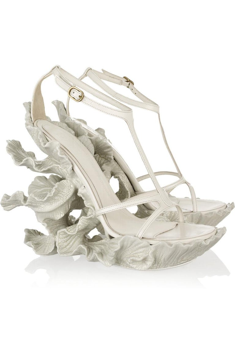 Gray Alexander McQueen cream leather, sculpted resin leaf wedge sandals, ss 2011 For Sale