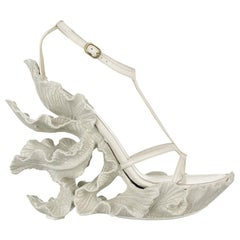 Alexander McQueen cream leather, sculpted resin leaf wedge sandals, ss 2011