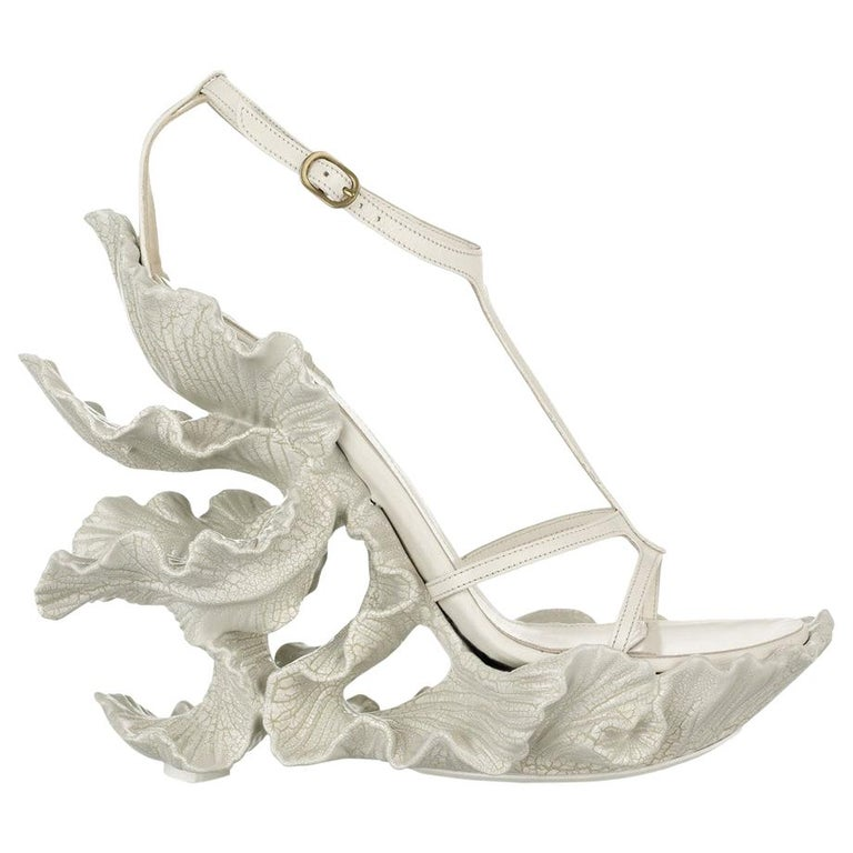 Alexander McQueen cream leather, sculpted resin leaf wedge sandals, ss 2011 For Sale