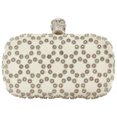 ALEXANDER MCQUEEN cream leather silver stud crystal embellished skull box clutch