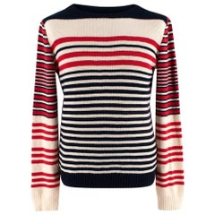 Alexander McQueen Cream, Red & Navy Striped Cashmere Blend Jumper - Size S