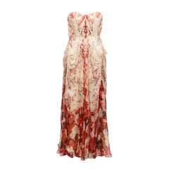 Alexander McQueen Cream & Red Rose Print Silk Gown