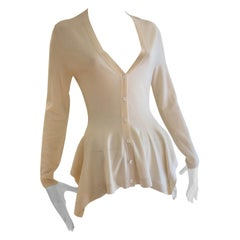 Alexander McQueen Cream Very Fine Wool Draped Peplum Cardigan