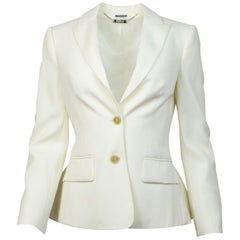 Alexander McQueen Cream Wool Jacket W/ Peplum Back Sz 40