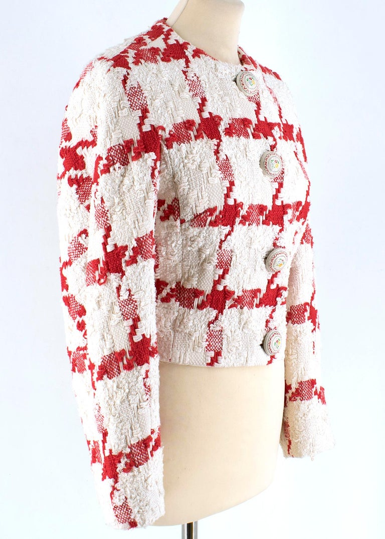 Alexander McQueen Crop Check Tweed Jacket   Large red stitch pattern design  Cropped tailored jacket  Metal floral design button fastenings  Long sleeve with crew neckline  Soft cream interior fabric    Please note, these items are pre-owned and may