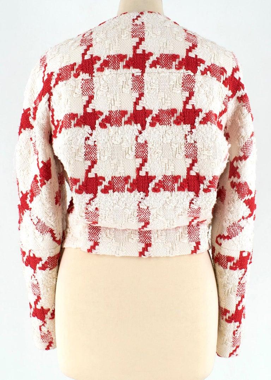 Alexander McQueen Crop Check Tweed Jacket IT 40 In Good Condition For Sale In London, GB