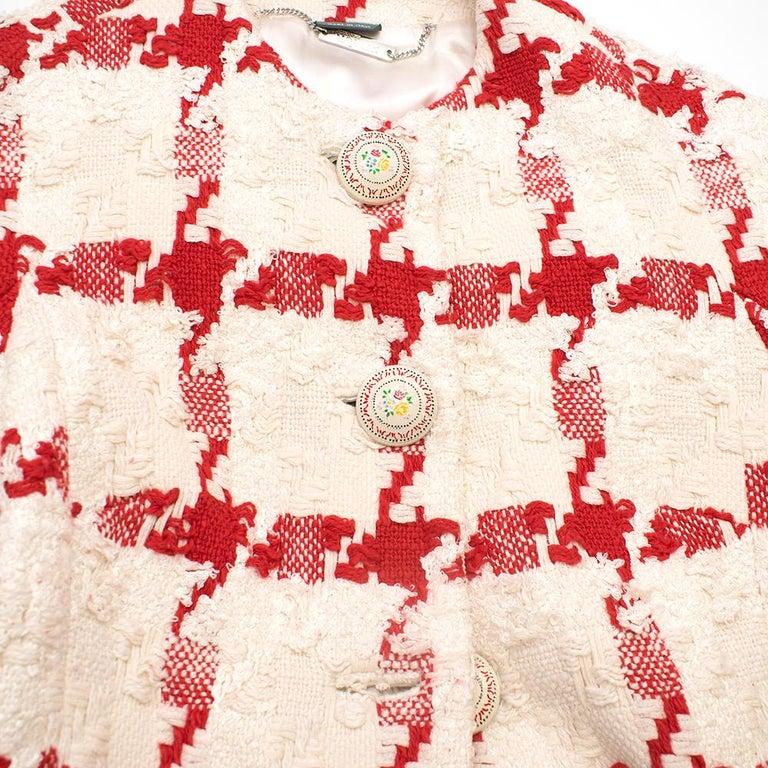 Alexander McQueen Crop Check Tweed Jacket IT 40 For Sale 2