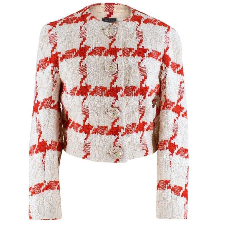 Alexander McQueen Crop Check Tweed Jacket IT 40 For Sale