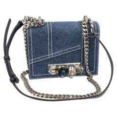 Alexander McQueen denim handbag with american point