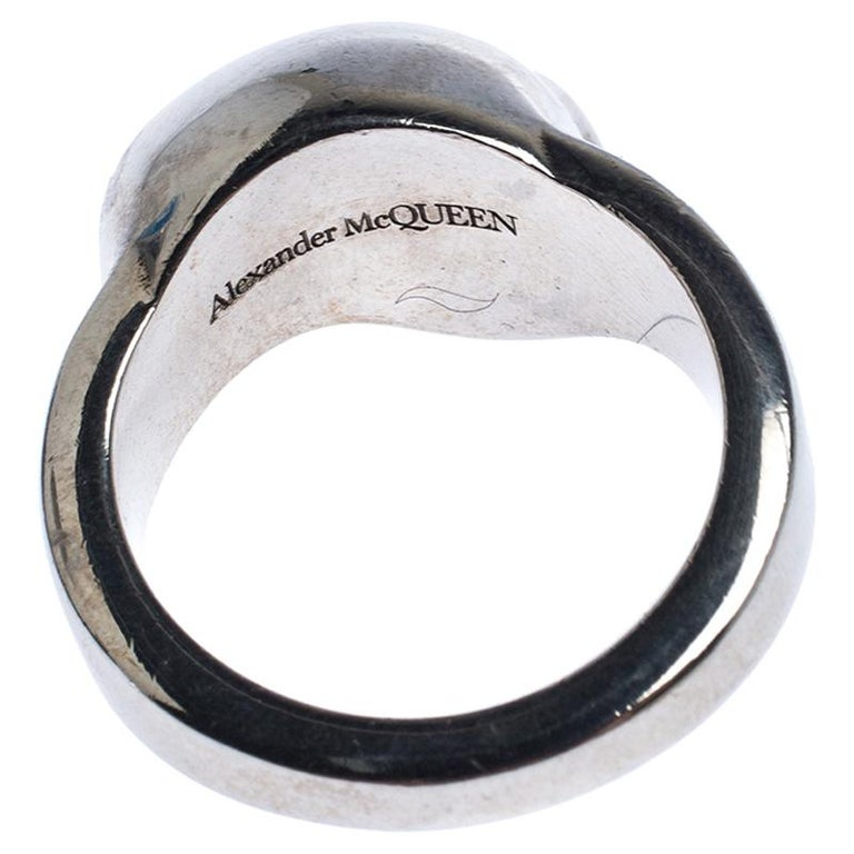 Alexander McQueen Divided Skull Silver Tone Ring Size 23 For Sale 1
