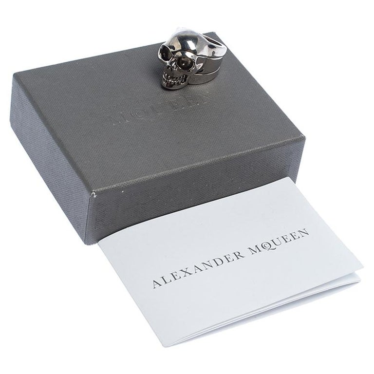Alexander McQueen Divided Skull Silver Tone Ring Size 23 For Sale 3