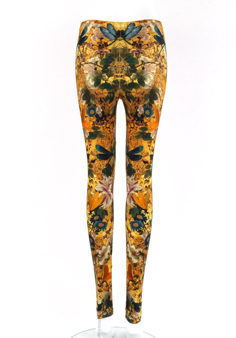 Women's ALEXANDER McQUEEN Dragonfly Floral Printed Stretch Legging Pant For Sale