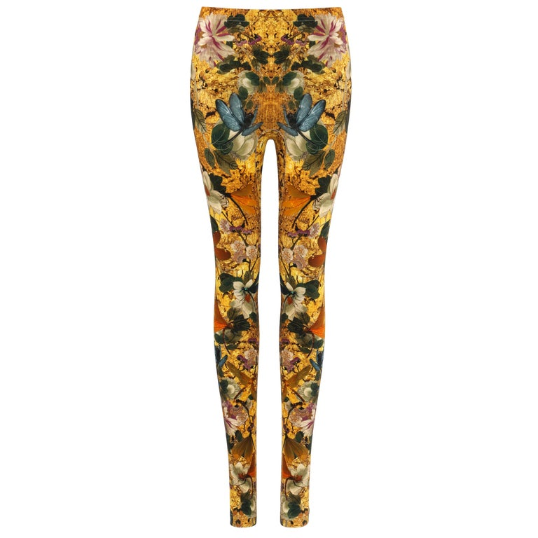 ALEXANDER McQUEEN Dragonfly Floral Printed Stretch Legging Pant For Sale