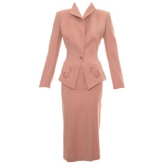 Alexander McQueen dusty pink wool skirt suit with lace inserts, ss 1999