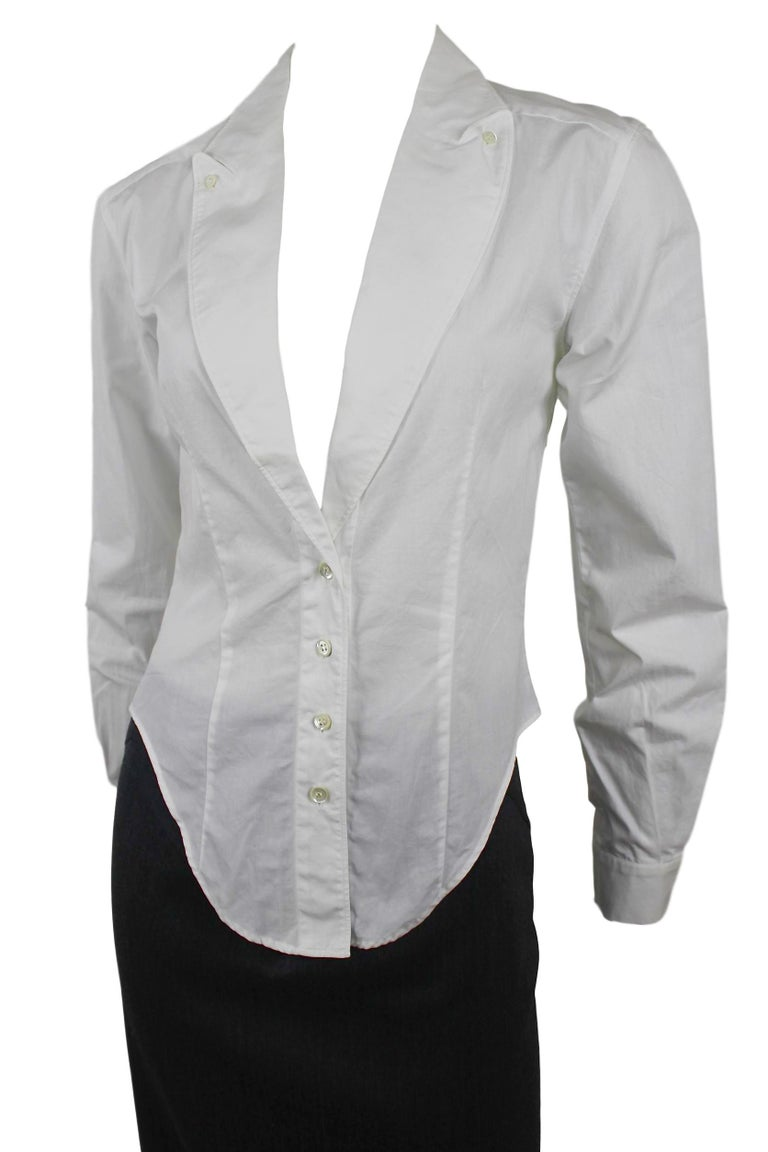 Alexander McQueen Early Collection Fitted Blouse with Lapels Labelled size 38