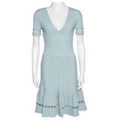 Alexander McQueen Egg Blue Knit Flute Sleeve Mini Dress M