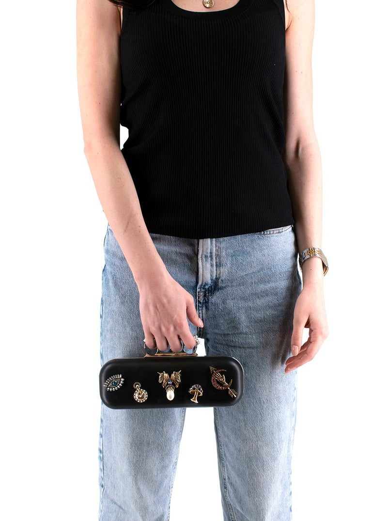 Alexander McQueen embellished black leather four-ring clutch bag  In Excellent Condition In London, GB