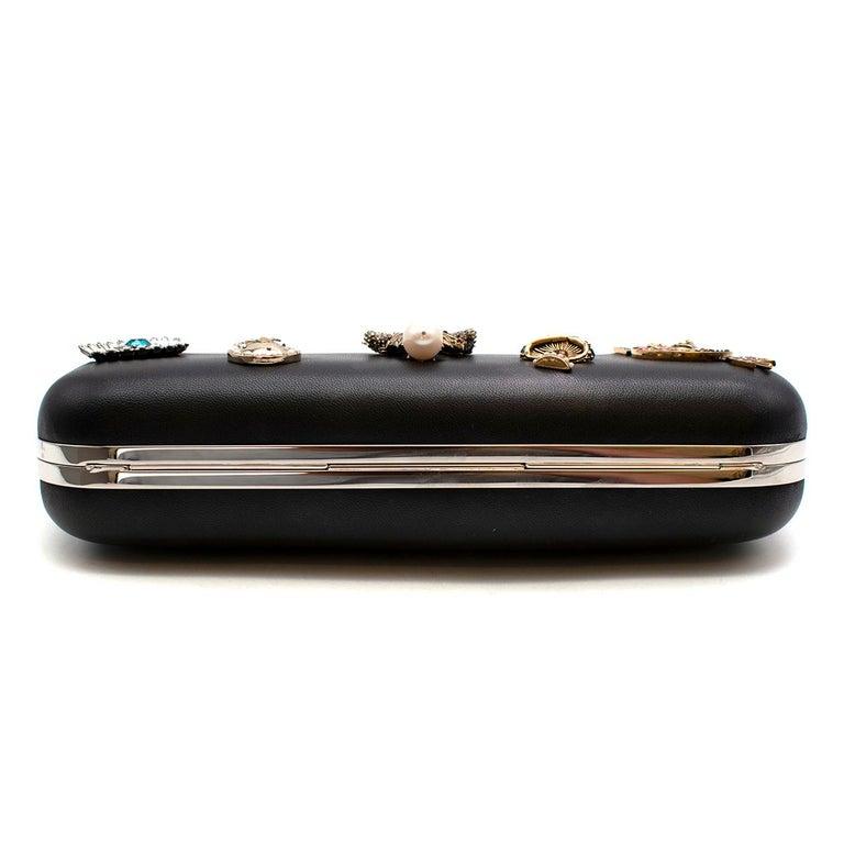Alexander McQueen embellished black leather four-ring clutch bag  2