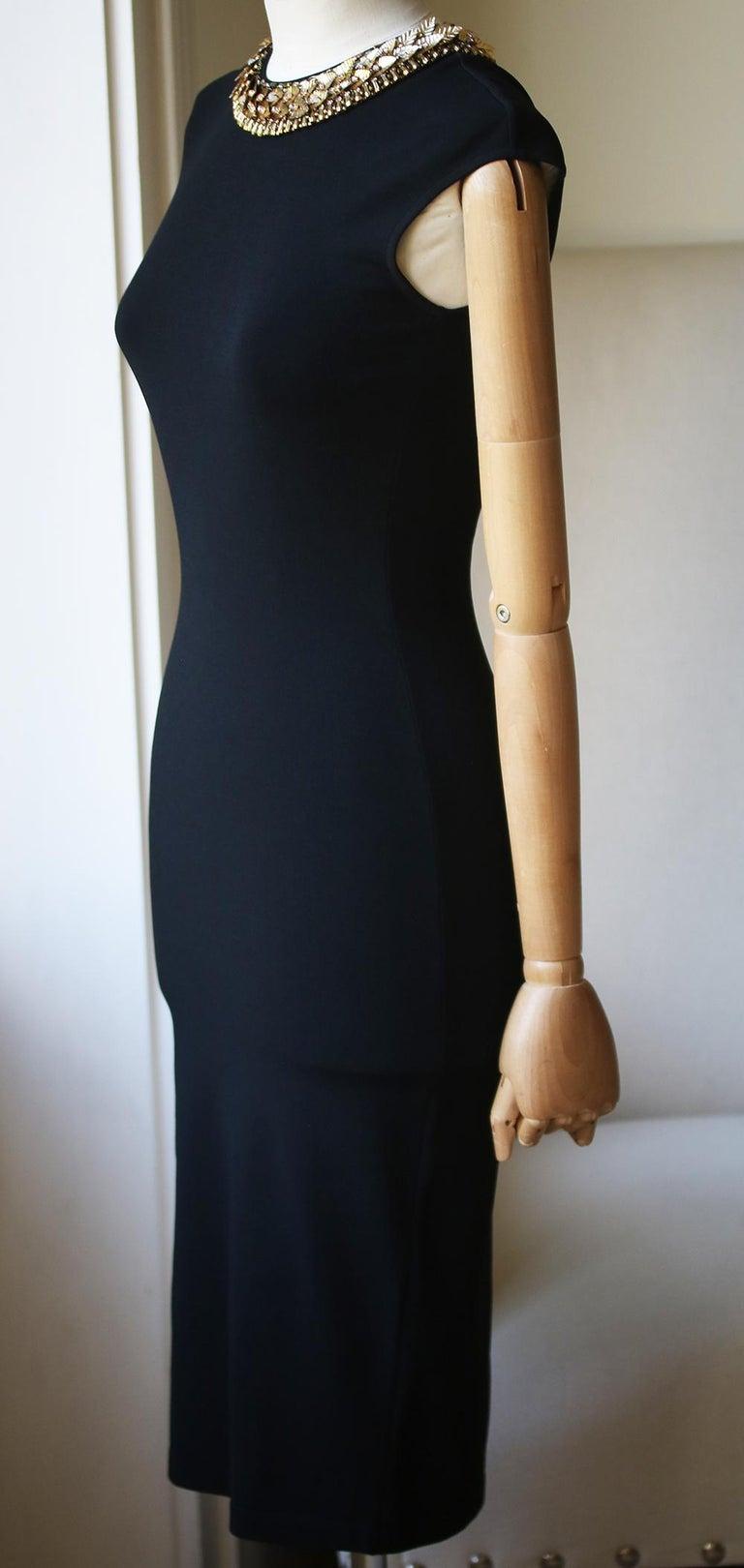 Black Alexander McQueen Embellished Stretch-Knit Dress