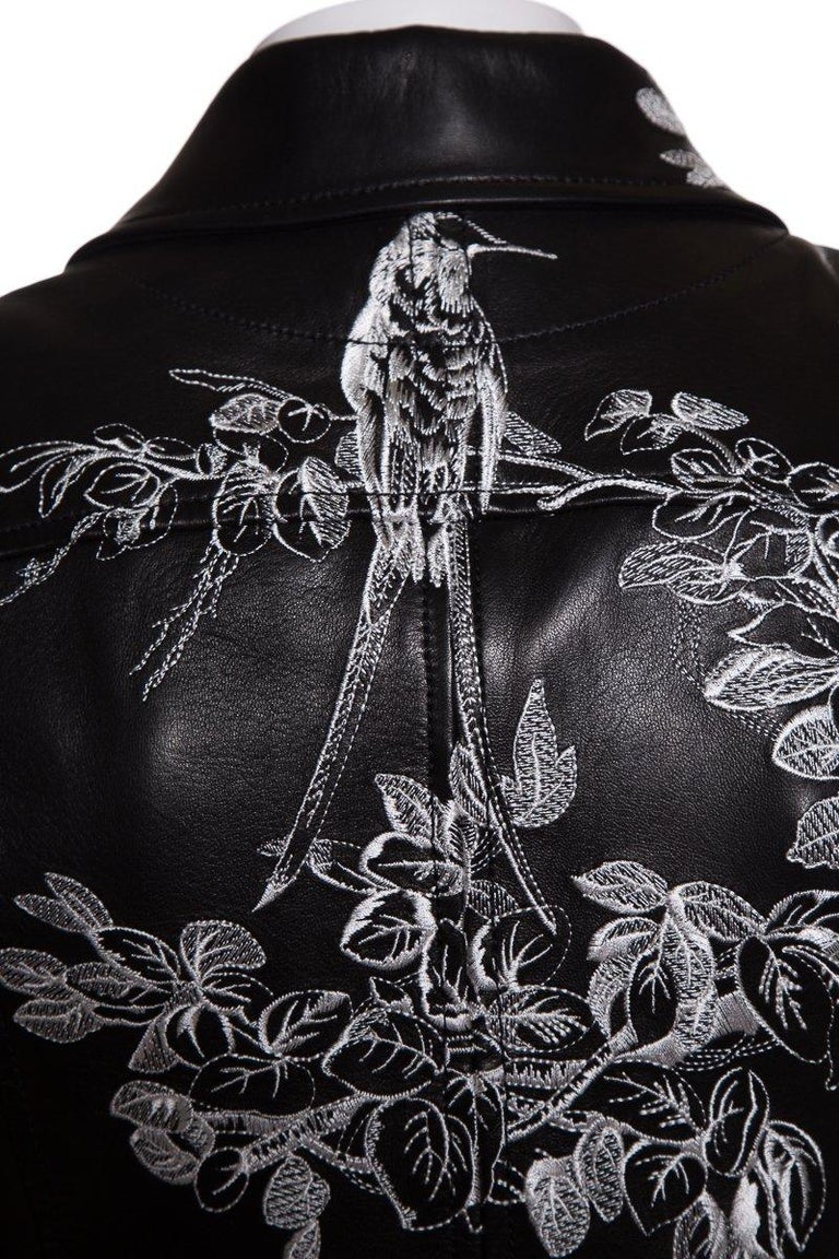 Women's ALEXANDER MCQUEEN  Embroidered Leather Biker Jacket Sz 40 NWT For Sale