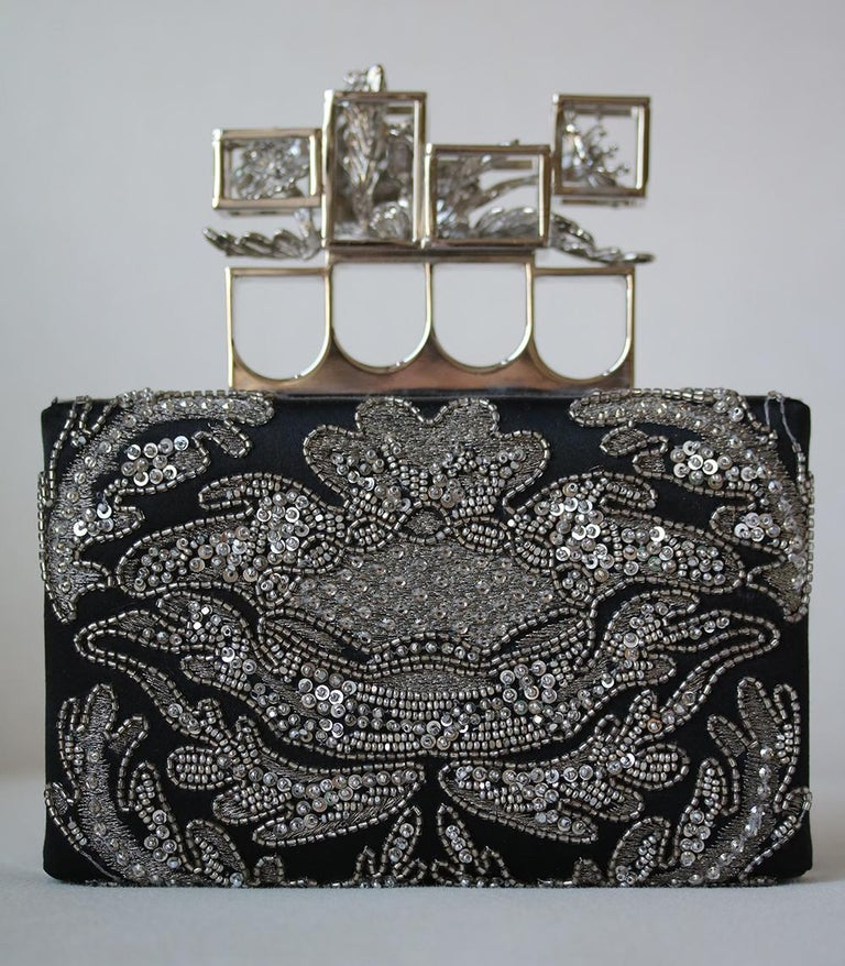 Alexander McQueen Embroidered Silk Poppy Cage Knuckle Box Clutch  In Excellent Condition For Sale In London, GB