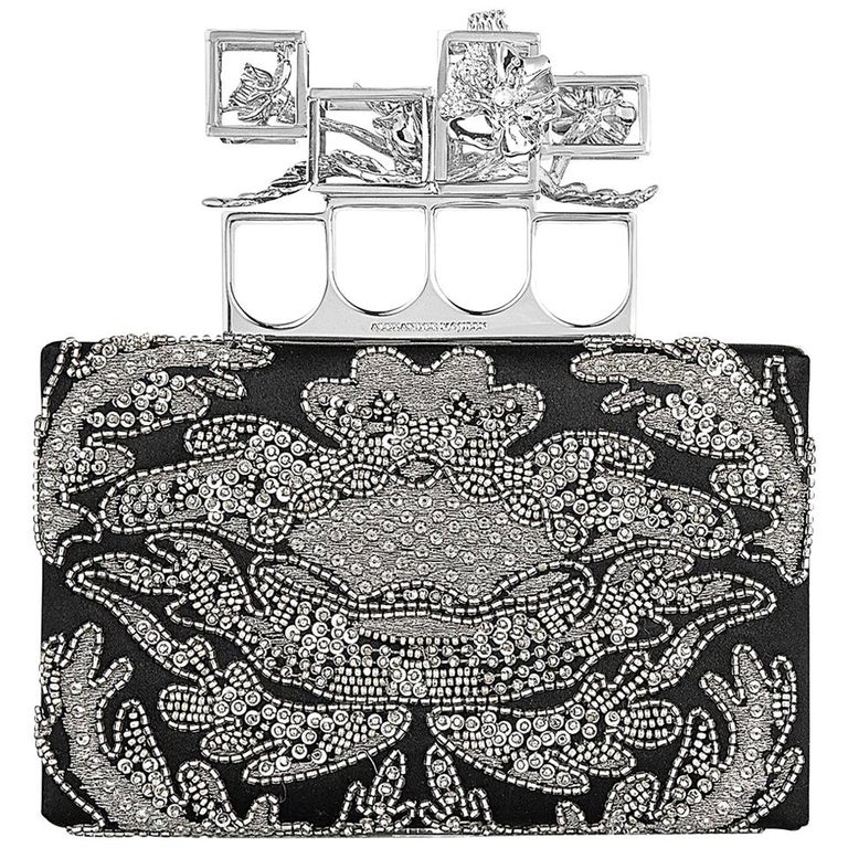 Alexander McQueen Embroidered Silk Poppy Cage Knuckle Box Clutch  For Sale