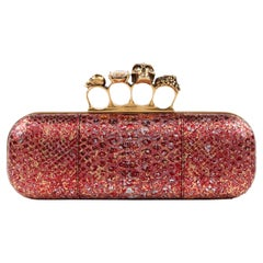 ALEXANDER McQUEEN F/W 2010 Red Metallic Python Skull Knuckle Ring Duster Clutch