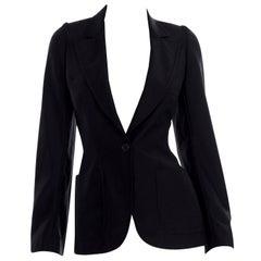 Alexander McQueen Fall 2000 Eshu Runway Black Blazer Jacket w Puff Sleeves