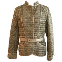 Alexander Mcqueen Fall 2003 Runway Green Gold Brocade Quilted Jacket