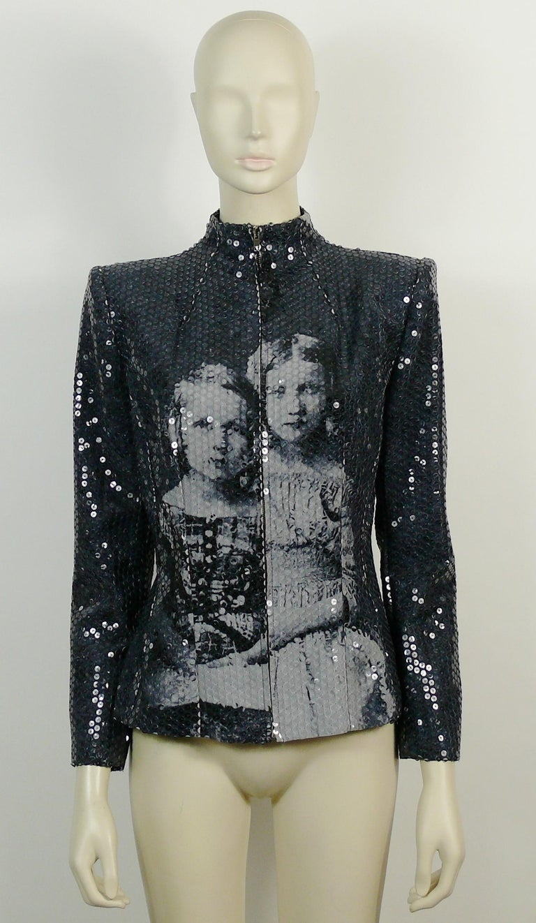 Black Alexander McQueen Fall Winter 1998 Imperial Romanov Princess Sequin Jacket  For Sale