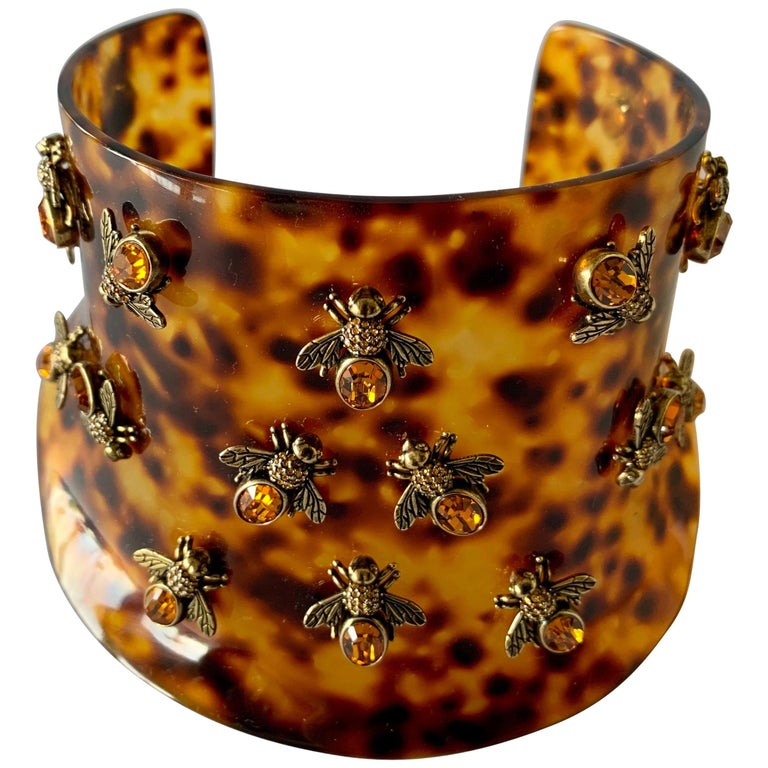 Alexander McQueen Faux Tortoise Jeweled Bee Statement Collar  For Sale