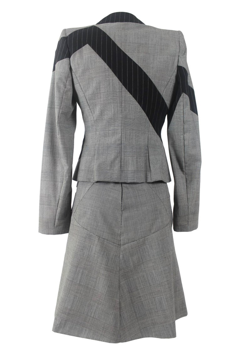Gray Alexander McQueen Fitted Skirt Suit 1997 Collection For Sale