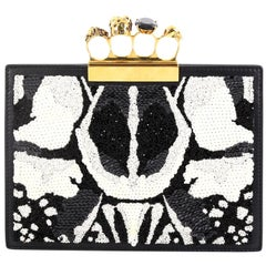 Alexander McQueen Flat Knuckle Clutch Sequin Embellished Leather Small