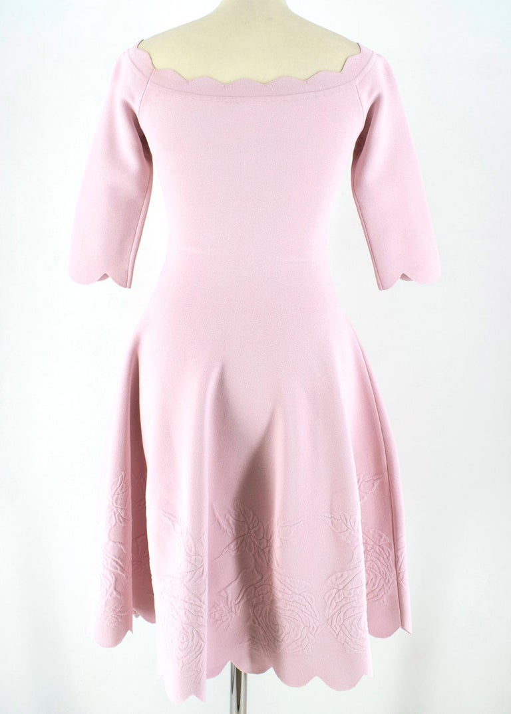 Beige Alexander McQueen Floral Jacquard Knit Pink Scalloped Dress S For Sale