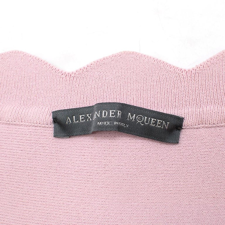 Women's Alexander McQueen Floral Jacquard Knit Pink Scalloped Dress S For Sale