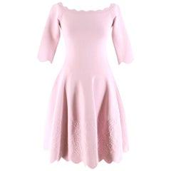 Alexander McQueen Floral Jacquard Knit Pink Scalloped Dress S