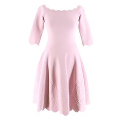Alexander McQueen Floral Jacquard Knit Pink Scalloped Dress S