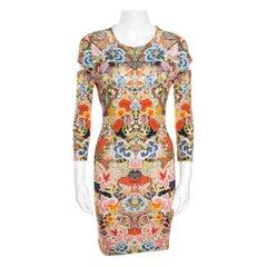 Alexander McQueen Floral Printed Jersey Cutout Sleeve Detail Bodycon Dress S