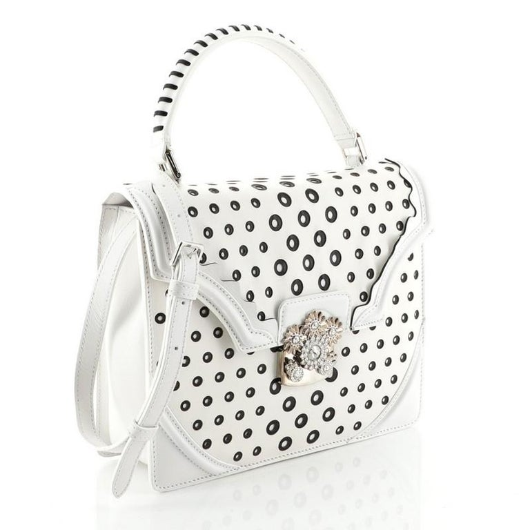 Alexander McQueen Flower Satchel Perforated Leather Medium In Good Condition For Sale In New York, NY