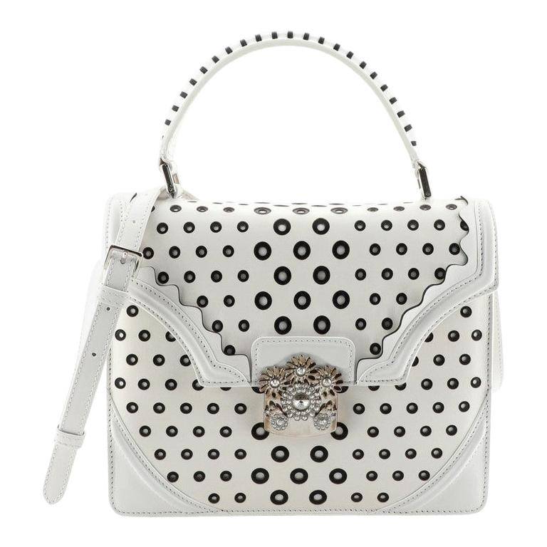 Alexander McQueen Flower Satchel Perforated Leather Medium For Sale