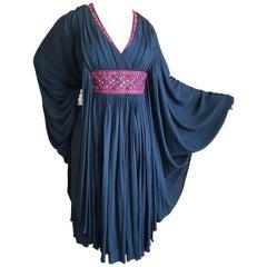 Alexander McQueen Folkloric Vintage Black Batwing Caftan Dress w Mirror Accents